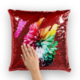 alloverprint.it Homeware Red / White Overall Print Mermaid Sequin Pillow - Dahlia
