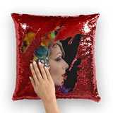 alloverprint.it Homeware Red / White Overall Print Mermaid Sequin Pillow - Mardi Gras