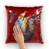 alloverprint.it Homeware Red / White Overall Print Mermaid Sequin Pillow - Pride Face