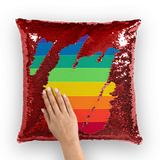 alloverprint.it Homeware Red / White Overall Print Mermaid Sequin Pillow - Pride Flag