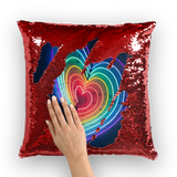 alloverprint.it Homeware Red / White Overall Print Mermaid Sequin Pillow - Rainbow Hearts