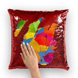 alloverprint.it Homeware Red / White Overall Print Mermaid Sequin Pillow - Serious Shade