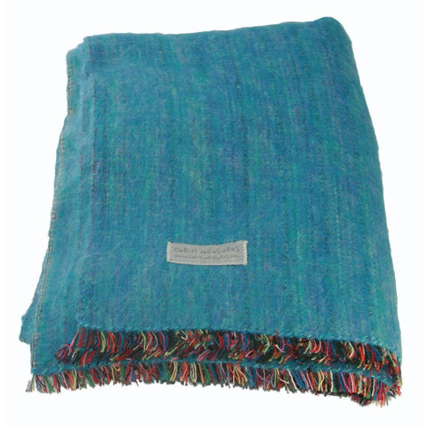 Cabin Measures Home - Pillows & Throws 100% Alpaca Travel Size Blanket - Turquoise