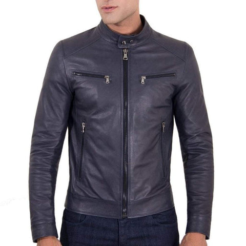D'Arienzo Men - Apparel - Outerwear - Jackets Hamilton Leather Jacket - Blue