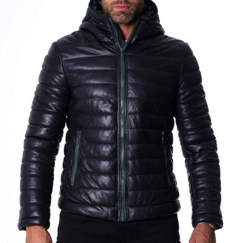 D'Arienzo Men - Apparel - Outerwear - Jackets Hooded Leather Down Jacket - Black