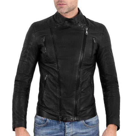 D'Arienzo Men - Apparel - Outerwear - Jackets Kevin Leather Biker Jacket With Quilted Yoke - Black
