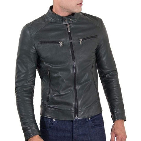 D'Arienzo Men - Apparel - Outerwear - Jackets Leather Biker Jacket - Green