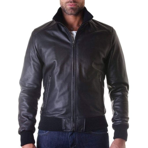 D'Arienzo Men - Apparel - Outerwear - Jackets Leather Bomber Jacket - Black
