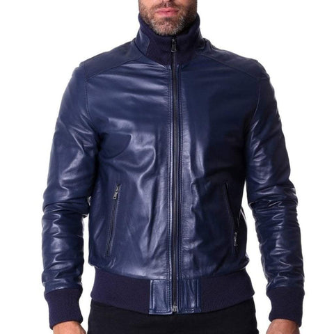 D'Arienzo Men - Apparel - Outerwear - Jackets Leather Bomber Jacket - Blue