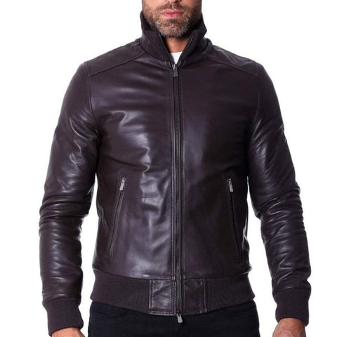 D'Arienzo Men - Apparel - Outerwear - Jackets Leather Bomber Jacket - Dark Brown
