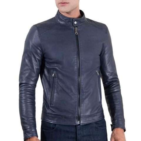 D'Arienzo Men - Apparel - Outerwear - Jackets Men's Blue Leather Jacket