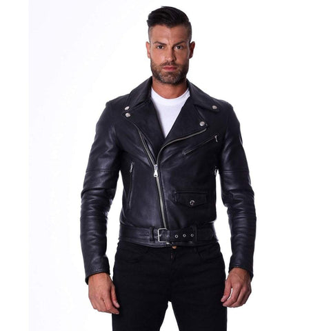 D'Arienzo Men - Apparel - Outerwear - Jackets Men's Italian Leather Belted Biker Jacket - Black