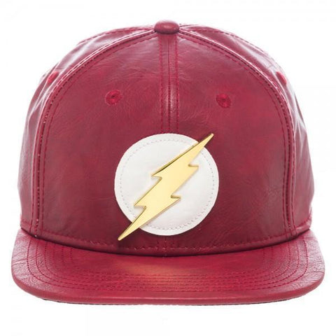 DC Comics Flash Vegan Leather Snapback Cap Maletropolis