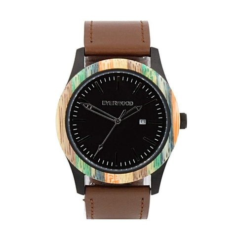 Everwood Watch Company Men - Accessories - Watches Default Title Everwood Inverness Watch - Multi Bamboo/Brown Leather