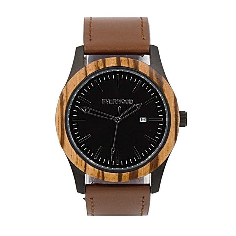 Everwood Watch Company Men - Accessories - Watches Default Title Everwood Inverness Watch - Zebrawood/Brown Leather