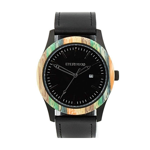 Everwood Watch Company Men - Accessories - Watches Everwood Inverness Watch - Multi Bamboo/Black Leather