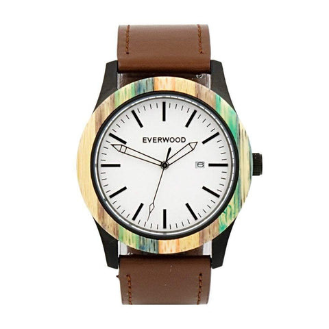 Everwood Watch Company Men - Accessories - Watches Everwood Inverness Watch - Multi Bamboo/Brown Leather