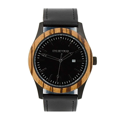 Everwood Watch Company Men - Accessories - Watches Everwood Inverness  Watch - Zebrawood/Black Leather