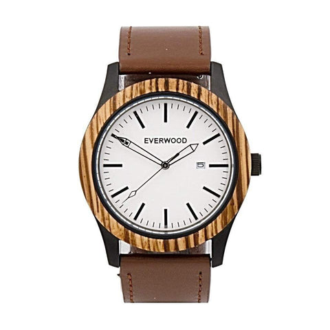 Everwood Watch Company Men - Accessories - Watches Everwood Inverness Watch - Zebrawood/Brown Leather