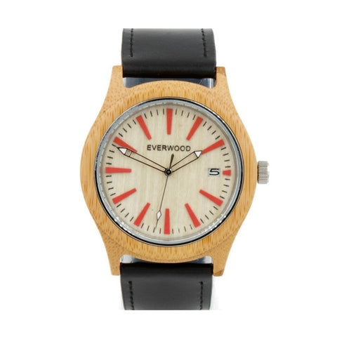 Everwood Watch Company Men - Accessories - Watches Everwood Kylemore  Bamboo/Black Leather Watch