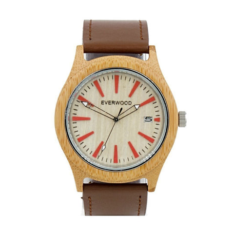 Everwood Kylemore Bamboo/Brown Leather Watch - Men - Accessories - Watches - Maletropolis