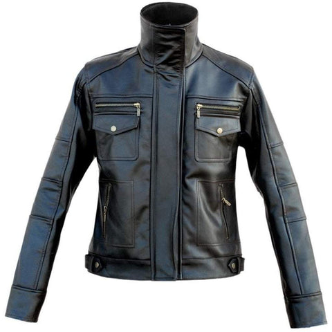 Leather Skin Men - Apparel - Outerwear - Jackets Funnel Collar Leather Jacket - Black
