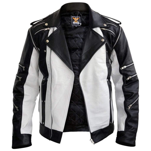 Leather Skin Men - Apparel - Outerwear - Jackets Leather Jacket - Black/White