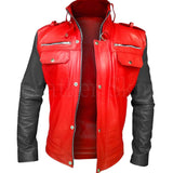 Leather Skin Men - Apparel - Outerwear - Jackets Leather Jacket - Red/Black