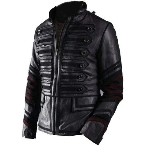 Leather Skin Men - Apparel - Outerwear - Jackets Leather Military Jacket - Black