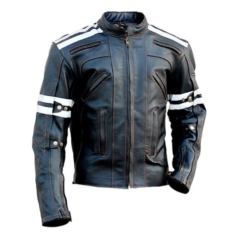 Leather Skin Men - Apparel - Outerwear - Jackets Panels Leather Jacket - Black/White/Red