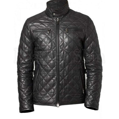 Leather Skin Men - Apparel - Outerwear - Jackets Quilted Leather Biker Jacket - Black