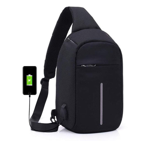 Luxury and Me Men - Bags - Backpacks Black Anti-Theft External USB Charging Incline Shoulder Bag