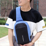 Luxury and Me Men - Bags - Backpacks Blue Anti-Theft External USB Charging Incline Shoulder Bag