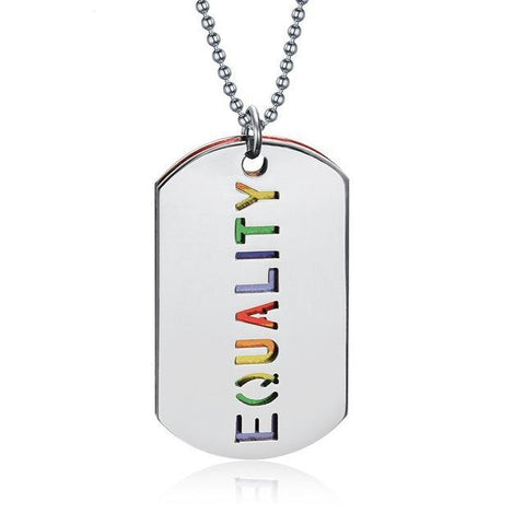 Maletropolis Default Title Rainbow EQUALITY Double-Layer Dog Tag Pendant Necklace