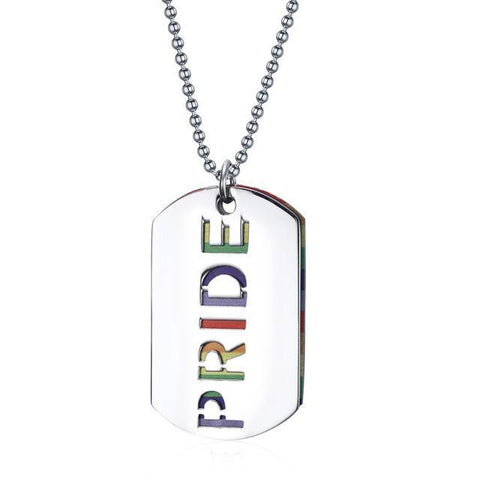 Rainbow PRIDE Double-Layer Dog Tag Pendant Necklace -  - Maletropolis