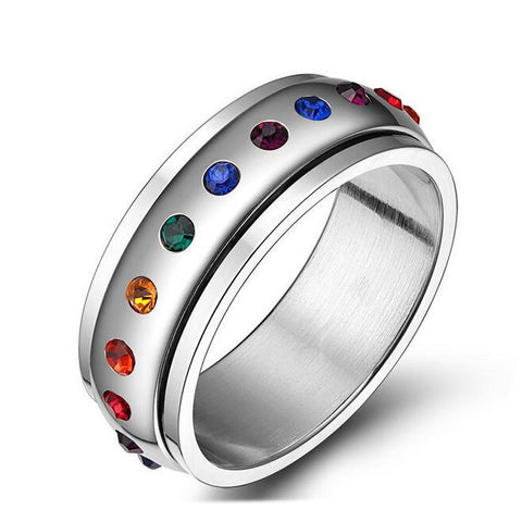 Maletropolis Men - Jewelry Stainless Steel Rainbow Crystal Spinner Ring