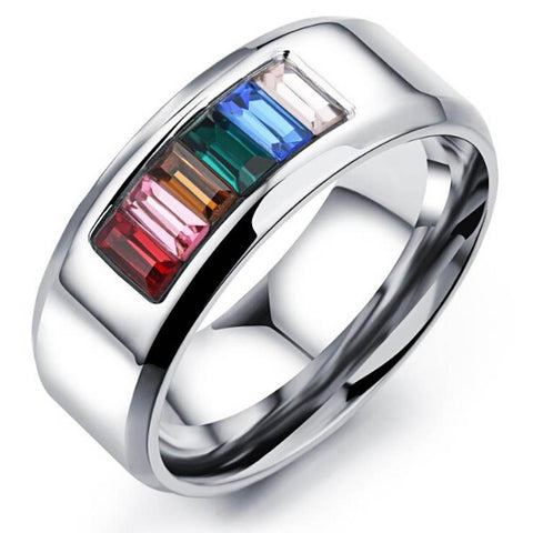Maletropolis Men - Jewelry Titanium Steel Rainbow Crystal Ring