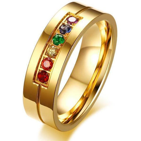 Maletropolis Men - Ring Stainless Steel Rainbow Crystal Ring