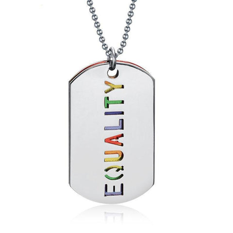 Maletropolis Rainbow EQUALITY Double-Layer Dog Tag Pendant Necklace