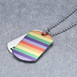 Maletropolis Rainbow PRIDE Double-Layer Dog Tag Pendant Necklace