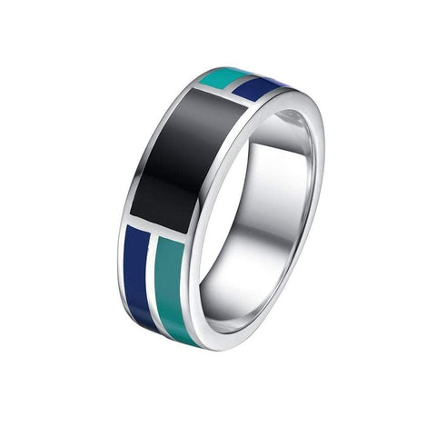 Mister SFC Men - Jewelry - Rings Abyss Sterling Silver And Enamel Ring