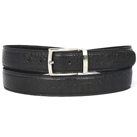 Paul Parkman Handmade Shoes Men - Accessories - Belts Paul Parkman Crocodile Embossed Calfskin Leather Belt - Black