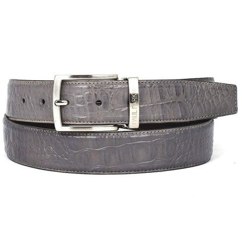 Paul Parkman Handmade Shoes Men - Accessories - Belts Paul Parkman Crocodile Embossed Calfskin Leather Belt - Gray