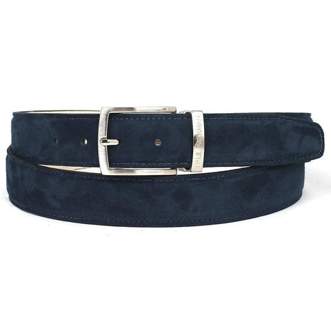 Paul Parkman Suede Belt - Navy - Men - Accessories - Belts - Maletropolis