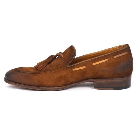 Paul Parkman Handmade Shoes Men - Shoes - Loafers & Drivers Paul Parkman Antique Suede Tassel Loafers - Brown