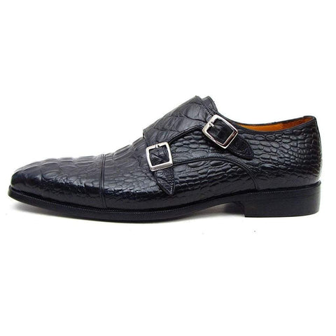 Paul Parkman Handmade Shoes Men - Shoes - Oxfords Paul Parkman Crocodile Embossed Calfskin Monkstrap Loafers - Black