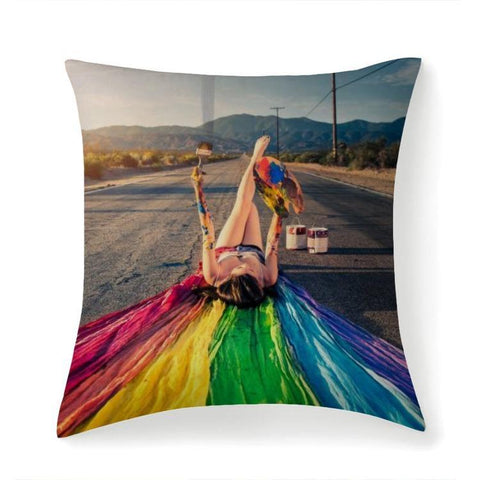 Printy6 Pillow 14''x14'' / Only Pillow Case Maletropolis Pride Pillow - Rainbow Highway