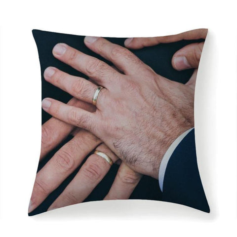 Printy6 Pillow 14''x14'' / Only Pillow Case Maletropolis Pride Pillow - Wedding Hands