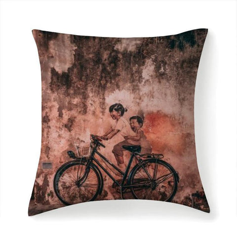 Printy6 Pillow 14''x14'' / Only Pillow Case Overall Print Pillow - Bicycle Mural