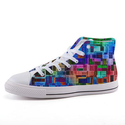 Printy6 Shoes 35 Maletropolis Custom High-Top Pride Sneakers - Rainbow Blocks